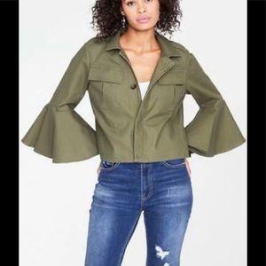 Rachel Roy Green bomber jacket bell sleeves 6
